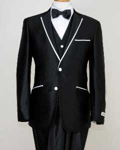 BHJ9233 Designed Liquid Jet Black Two Button Tuxedos