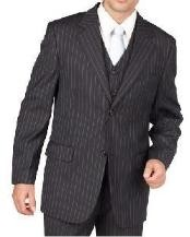 NZ1928 Liquid Jet Black Pinstripe 2 Button Style Vested