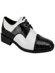 JS356 Mens Fashion Two Toned Black/White Dress Shoe