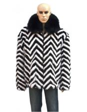 GD727 Mens Fur Zipper Black/White Black Fox Collar Jacket