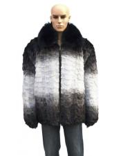 GD729 Mens Fur Black/White Pull Up Zipper Fox Collar