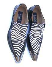 JSM-5037 Mens Stylish Leopard Slip on Spat Black/White Dress