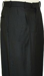 WQ9221 Liquid Jet Black Wide Leg Slacks Pleated Slacks