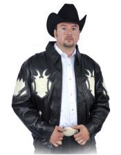 GD1028 G-Gator Mens Black/Winter White Genuine Lambskin Leather/Crocodile Jacket