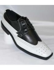 Men's Black And White Wingtip Shoes