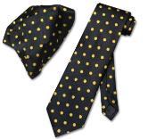 DK5278 Liquid Jet Black w/ Yellow Polka Dots Necktie