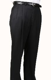 BR6964 100% Worsted Wool Fabric Black Parker Pleated Slacks