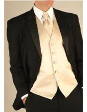 GD1110 Mens Black Wool Tuxedo Suit With Champagne Color