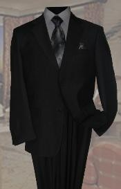 QT9422 Liquid Jet Black Wool Fabric Suit 2 Button