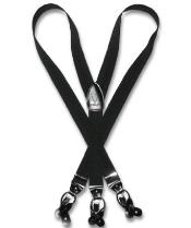 Z5RQ Liquid Jet Black Suspenders Y Shape Back Elastic