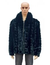 GD730 Mens Fur Black Pull Up Zipper Fox Collar
