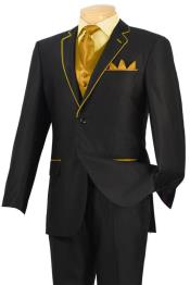 GHV11 Tuxedo Liquid Jet Black Gold-Camel ~ Khaki Trim