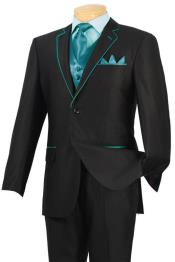 TUJ32 Tuxedo Liquid Jet Black turquoise ~ Light Blue