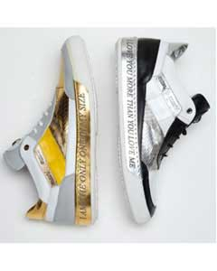 PN-V73 8656 Express Nappa & Crocodile Sneakers Black/White Yellow/White