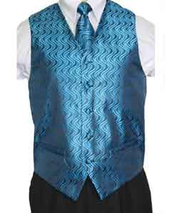 Blue/Black Vest Tie 4-Piece Accessory