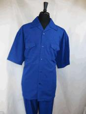 SM1139 5 Buttons Short Sleeve Single Breasted royal blue