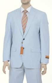 Fine Blue Pinstriped Spring Summer Weight Cotton Suit