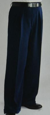 FL9574 Blue Wide Leg Dress Pants Pleated Slacks baggy