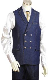 AB3322 2pc Blue Denim Vest Sets
