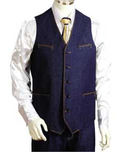 VD0212 2pc Blue Denim Vest Sets With Urban attire