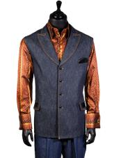 JSM-4909 Mens Double Breasted Blue Denim 2 Pc Lapel