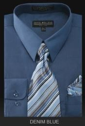 WE6777 Dress Shirt - PREMIUM TIE - Denim Blue