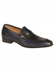 MO556 Mezlan Brand Blue Genuine Lizard Loafer Shoes