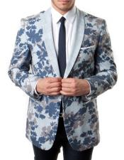 Blue and Gray Slim Fit Tuxedo Jacket