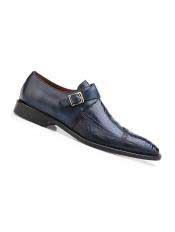 SM4996 Mens Blue Safari Genuine Ostrich And Italian Calf
