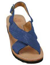 JSM-5268 Mens Blue Jean Exotic Skin Sandals in ostrich