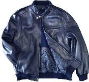 KA1401 Leather Bomber Jacket Soft Lambskin Blue tanners avenue