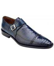 Mens Blue Genuine Ostrich