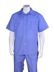 JSM-3572 Mens Blue Plain Short Sleeve Mens 2 Piece