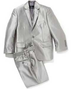 PN74 Shiny Silver Grey Sharkskin Kids Boys Kids Youth