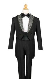 SM671 Boys Liquid Jet Black 4 Button Style Tuxedo