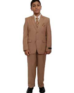 BC-86 Boys Five Piece Suits For Teenagers Set Camel
