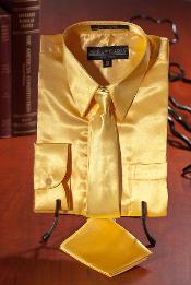 DFG826 Kids Boys Gold Satin Dress Shirt Combo
