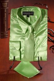 BVC282 Kids Boys lime mint Satin Dress Shirt Combo