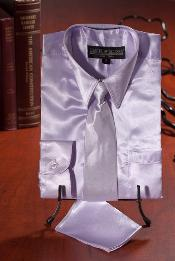 ASD610 Kids Boys Lavender Satin Dress Shirt Combo