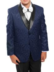 SM4615 Boys 3 Piece Navy/Black Satin Shawl Collar Floral