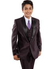 JSM-2049 Boys 1 Button Poly/Rayon Satin Lapel Classic Fit