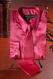 YUT222 Kids Boys Hot Pink Satin Dress Shirt Combo