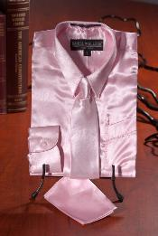 MNX732 Kids Boys Light Pink Satin Dress Shirt Combo