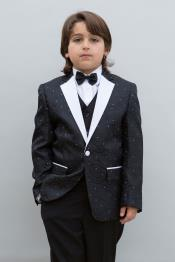 JSM-4898 Mens Single Breasted Black Colored Notch Lapel Boys