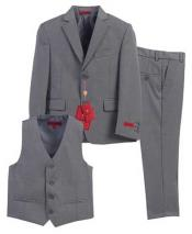 JSM-829 Boys Gray 3 Piece Formal Notch Lapel Single