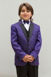 JSM-4897 Mens Single Breasted Purple Colored Notch Lapel Boys