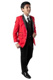 SM4611 Boys Two Button Red Tuxedo Boys And Men