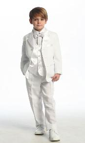 KA2348 White Single Breasted Tuxedo with Vest