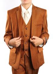 SM4618 Boys Solid Rust Three Piece Notch Lapel Tuxedo