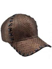 JSM-718 Genuine Ostrich Alligator Exotic Skin Brown Baseball Cap